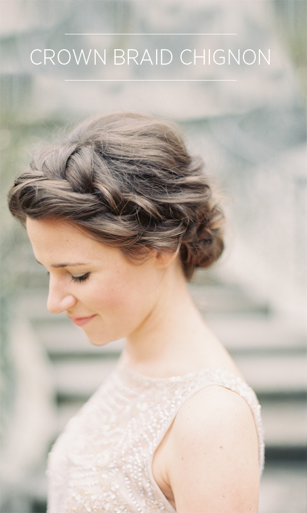 Crown Braid Chignon Tutorial - DIY Weddings - Once Wed